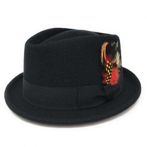 Black Pork Pie/Trilby Hat - Diamond Crown. Lined. Premium Wool